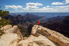 A hiker in the Grand Canyon National Park, North Rim, Arizona, U Stock Photo