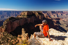 A hiker in the Grand Canyon National Park, North Rim Stock Images