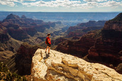 A hiker in the Grand Canyon National Park, North Rim Royalty Free Stock Photography