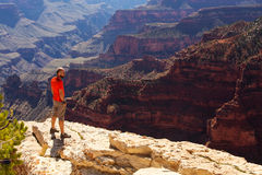 A hiker in the Grand Canyon National Park, North Rim Royalty Free Stock Photos