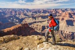 A hiker in the Grand Canyon National Park, South Rim, Arizona, USA stock photos