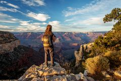 A hiker in the Grand Canyon National Park, South Rim, Arizona, USA