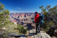 A hiker in the Grand Canyon National Park, South Rim Royalty Free Stock Images
