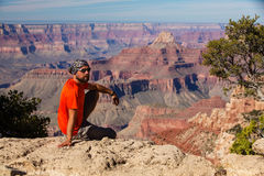 A hiker in the Grand Canyon National Park, South Rim Royalty Free Stock Photos