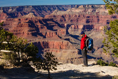 A hiker in the Grand Canyon National Park, South Rim Royalty Free Stock Photography