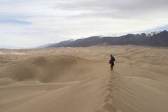 Hiker at Great Sand Dunes National Park and Preser Stock Image