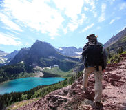 Hiker on Grinnell Glacier Trail Royalty Free Stock Photo