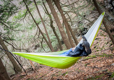 Hiker Hanging In A Hammock Stock Photos