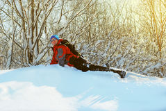 Hiker having fun in winter forest Royalty Free Stock Images