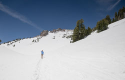 Hiker heads up to Lassen Peak Stock Photography