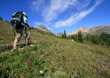 Hiker on Helen Lake Trail Stock Photo