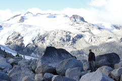 Hiker at high altitude stock photo