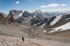 Hiker in high mountains. Royalty Free Stock Images