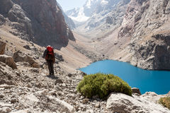 Hiker in high mountains. Royalty Free Stock Photography