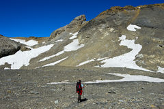 Hiker in the high mountains Royalty Free Stock Photography
