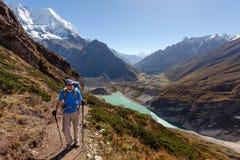 Hiker in highlands of Himalayas on Manaslu circuit Stock Photos
