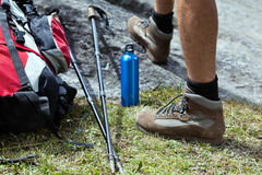 Hiker and hiking equipment Stock Photo