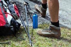 Hiker and hiking equipment Stock Photo