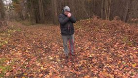 Hiker with hiking poles in the park in autumn. Day stock video footage