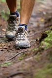 Hiker - hiking shoes closeup from hike walk. Walking male shoes with copy space. From forest Royalty Free Stock Images