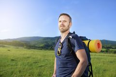 Hiker on the hillside Royalty Free Stock Photography