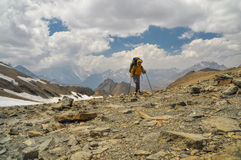 Hiker in Himalayas Stock Images