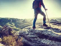 Free Hiker Hold Medicine Stick,  Injured Knee Fixed In Knee Feature Royalty Free Stock Photos - 155724988