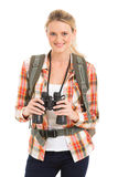 Hiker holding binoculars. Pretty female hiker holding binoculars Stock Photography