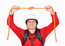 Hiker holding rope Stock Photography