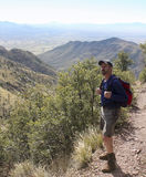 A Hiker on the Huachuca Mountain Crest Trail. Near Sierra Vista, Arizona Stock Images