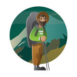 Hiker with huge backpack. Trekking, hiking, climbing, traveling. Vector illustration on the theme of hiking, backpacking, climbing, traveling, trekking, walking Royalty Free Stock Images