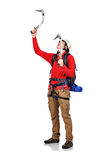 Hiker with ice axe Royalty Free Stock Images