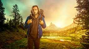 Hiker in the Italian Dolomites Stock Photography