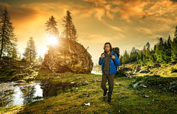 Hiker in the Italian Dolomites Royalty Free Stock Images