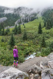 Hiker on Joffre Lakes Trail Royalty Free Stock Image