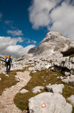 Hiker in Julian alps. Hiker doing Triglav lakes route Stock Images