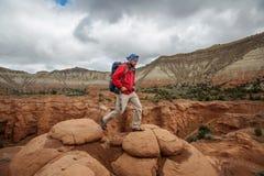 Hiker in Kodachrome Basin state park in Utah, USA stock image