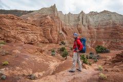 Hiker in Kodachrome Basin state park in Utah, USA stock photography