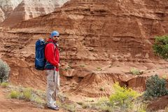 Hiker in Kodachrome Basin state park in Utah, USA royalty free stock photos