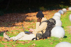 Hiker with laptop Stock Images