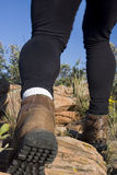 Hiker legs on a mountain trail stock images