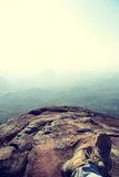 Hiker legs relax at mountain peak Royalty Free Stock Images