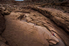 Hiker in the Little Wild Horse Canyon Bird's eye view Stock Photo