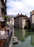 Hiker on the Locks. View of an hiker and cafes on the Annecy Locks, France stock image