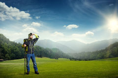 Hiker looking at beautiful nature Royalty Free Stock Image