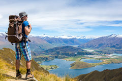 Hiker looking at the horizon Royalty Free Stock Photography