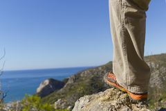 Hiker looking at the landscape Royalty Free Stock Image