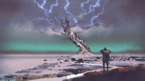 Lightning above the giant tree. Hiker looking at lightning above the giant tree, digital art style, illustration painting stock illustration