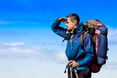 Hiker looking at view Stock Photos