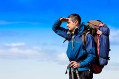 Hiker looking at view Stock Photos